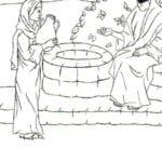 Imagens de Jesus e a mulher ao lado do poço para colorir