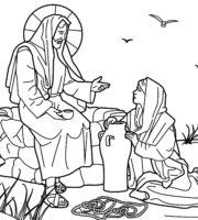 Desenho de Jesus e a mulher samaritana para colorir