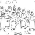 Desenho de Jesus e discípulos para colorir