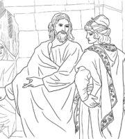 Desenho de Jesus e o jovem rico para colorir