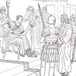 Desenho de Jesus e Pilatos para colorir