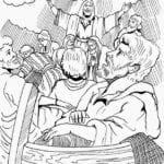Desenho de Jesus impedindo naufrágio para colorir
