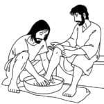Desenho de Jesus lavando os pés dos discípulos para colorir