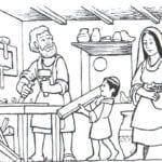 Desenho de Jesus menino carpinteiro para colorir