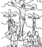Desenho de Jesus na cruz para colorir