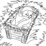 Desenho de Jesus na manjedoura para colorir