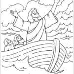 Desenho de Jesus navegando no mar para colorir