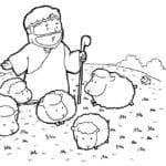 Desenho de Jesus pastor de ovelhas para colorir