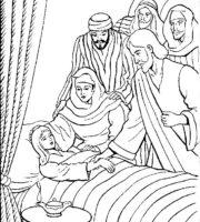 Desenho de Jesus ressuscita filha de Jairo para colorir