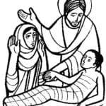Desenho de Jesus ressuscita filho de viúva para colorir