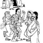Desenho de Jesus ressuscitando Lázaro para colorir