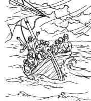 Desenho de Jesus acalma a tempestade para colorir