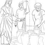 Desenho de Jesus transformando água em vinho para colorir