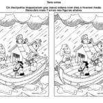 Desenho de Jogo dos 7 erros – Jesus acalma a tempestade para colorir