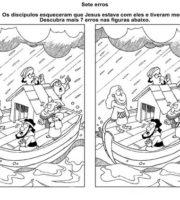 Desenho de Jogo dos 7 erros - Jesus acalma a tempestade para colorir