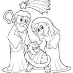 Desenho de Maria e José, pais de Jesus para colorir