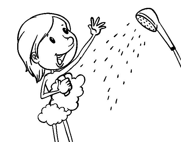 Desenho de Menina no chuveiro para colorir