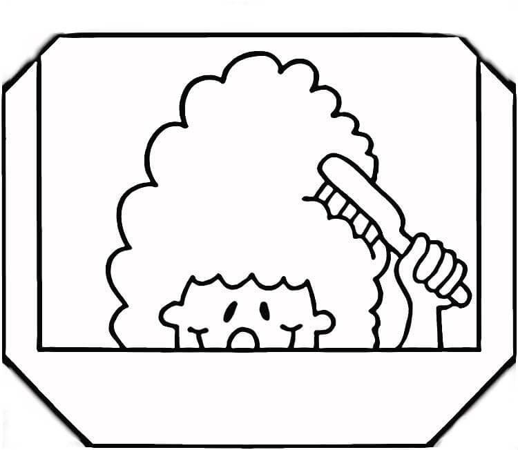 Figuras de Menina penteando cabelo para colorir