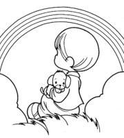 Desenho de Menino e cachorrinho rezando para colorir