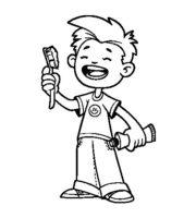 Desenho de Menino escovando os dentes para colorir