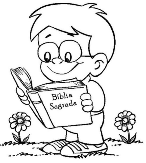 Figuras De Menino Lendo A Biblia Para Colorir E Imprimir