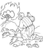 Desenho de Moisés e o arbusto em chamas para colorir
