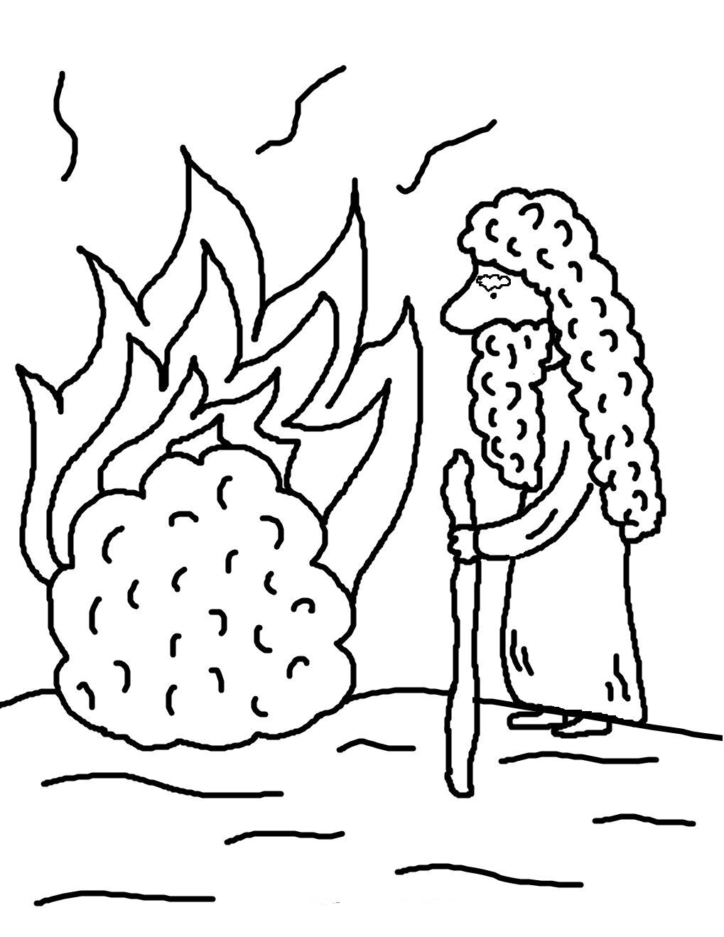 Desenho De Moises E O Arbusto Pegando Fogo Para Colorir