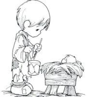 Desenho de Momentos Preciosos - Manjedoura para colorir