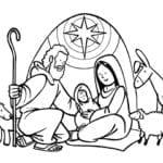 Desenho de Nascimento de Jesus para colorir