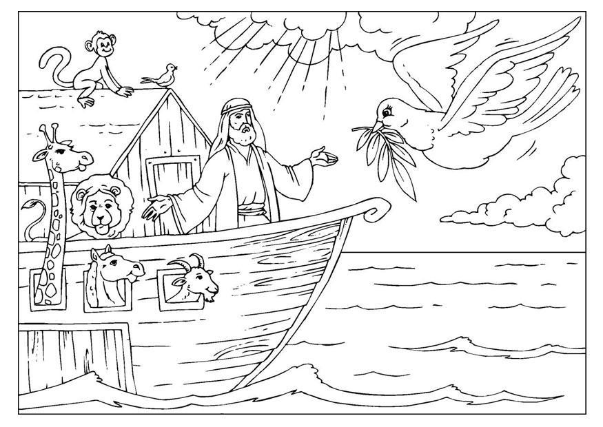 Desenho de Noé comandando embarcação para colorir