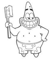 Figuras de Patrick Estrela escovando dentes para colorir