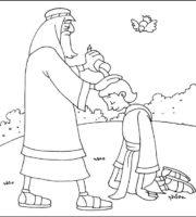 Desenho de Rei Davi recebendo bençãos para colorir