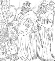 Desenho de Rei Ezequias pagando tributo à Assíria para colorir