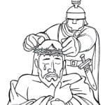 Desenho de Rosto de Jesus com a coroa de espinhos para colorir