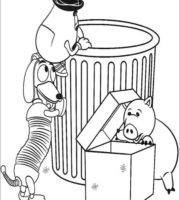 Figuras de Slinky, porquinho e Sr Cabeça de Batata para colorir