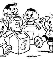 Imagens de Turma da Monica reciclagem de lixo para colorir
