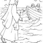 Desenhos para Colorir – Jesus Andando Sobre as Águas