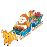 Lindo desenho Papai Noel de Trenó PNG