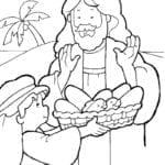 Desenhos para Colorir – Menino Dividindo Pães com Jesus