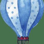 Pintura em Aquarela Balão Azul PNG