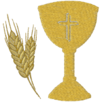 Cálice Primeira Eucaristia PNG Bordado Ouro