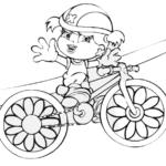 Desenho de Xuxinha andando de bicicleta para colorir