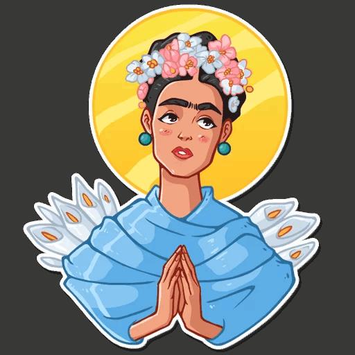 Adesivo Frida Kahlo PNG com fundo transparente grátis